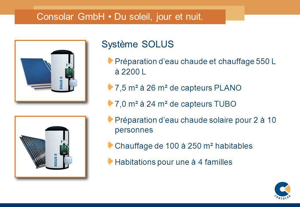 4 Consolar GmbH Du soleil, jour et nuit. Système SOLUS Préparation deau chaude et chauffage 550 L à 2200 L 7,5 m² à 26 m² de capteurs PLANO 7,0 m² à 2