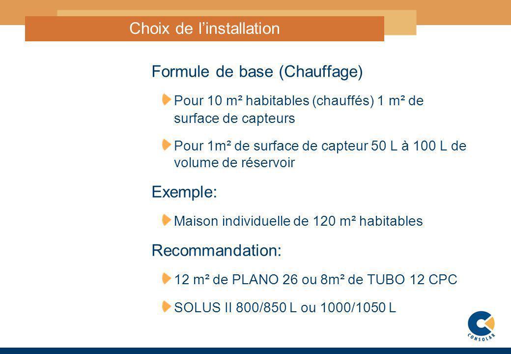 5 Choix de linstallation Formule de base (Chauffage) Pour 10 m² habitables (chauffés) 1 m² de surface de capteurs Pour 1m² de surface de capteur 50 L
