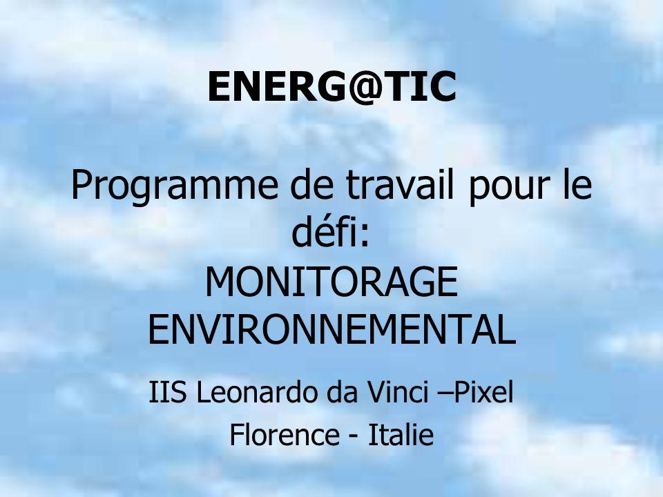 ENERG@TIC Programme de travail pour le défi: MONITORAGE ENVIRONNEMENTAL IIS Leonardo da Vinci –Pixel Florence - Italie