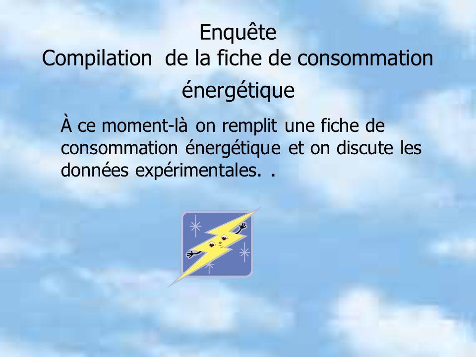 Enquête Compilation de la fiche de consommation énergétique À ce moment-là on remplit une fiche de consommation énergétique et on discute les données expérimentales..