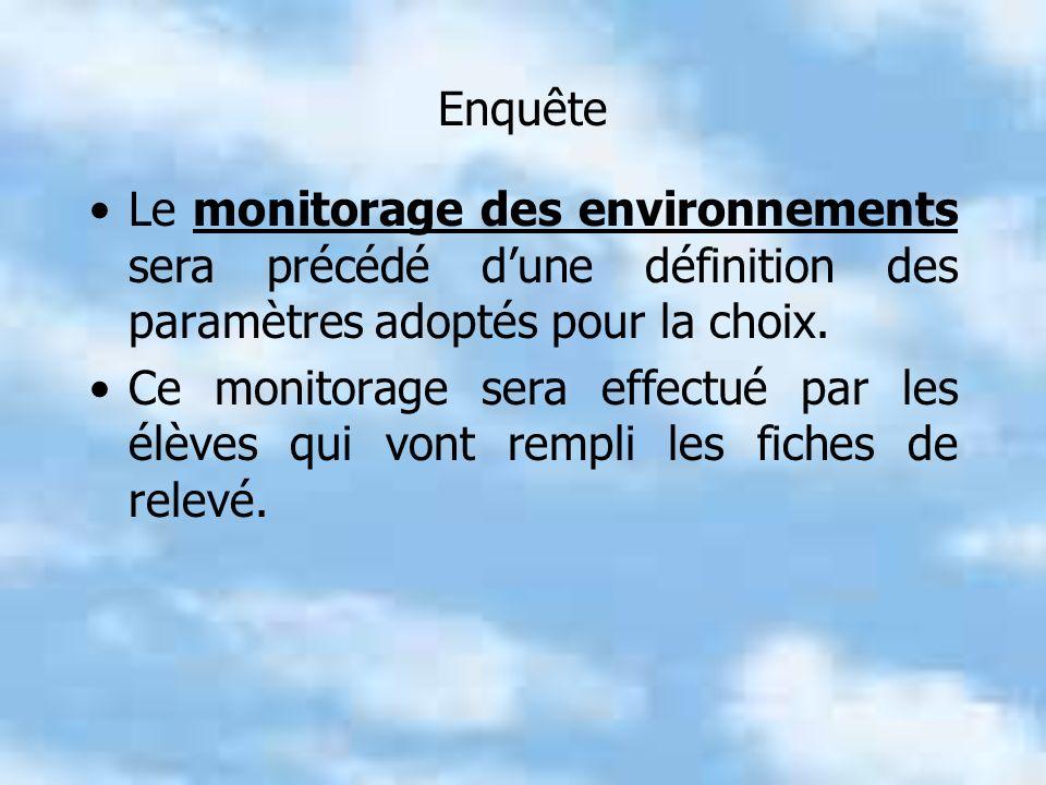 Enquête Le monitorage des environnements sera précédé dune définition des paramètres adoptés pour la choix.