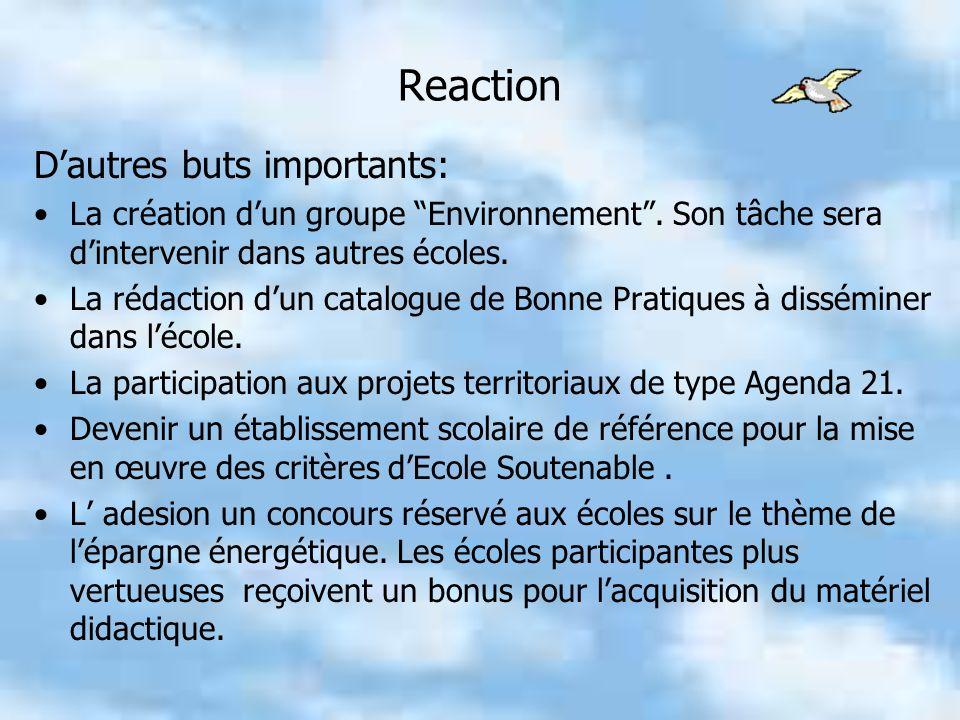 Reaction Dautres buts importants: La création dun groupe Environnement.