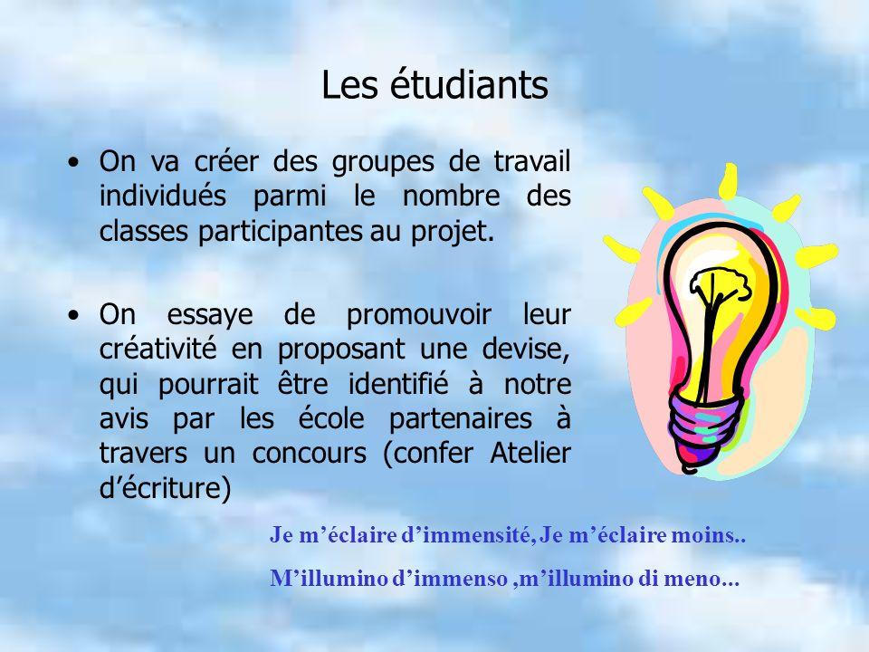Les étudiants On va créer des groupes de travail individués parmi le nombre des classes participantes au projet.