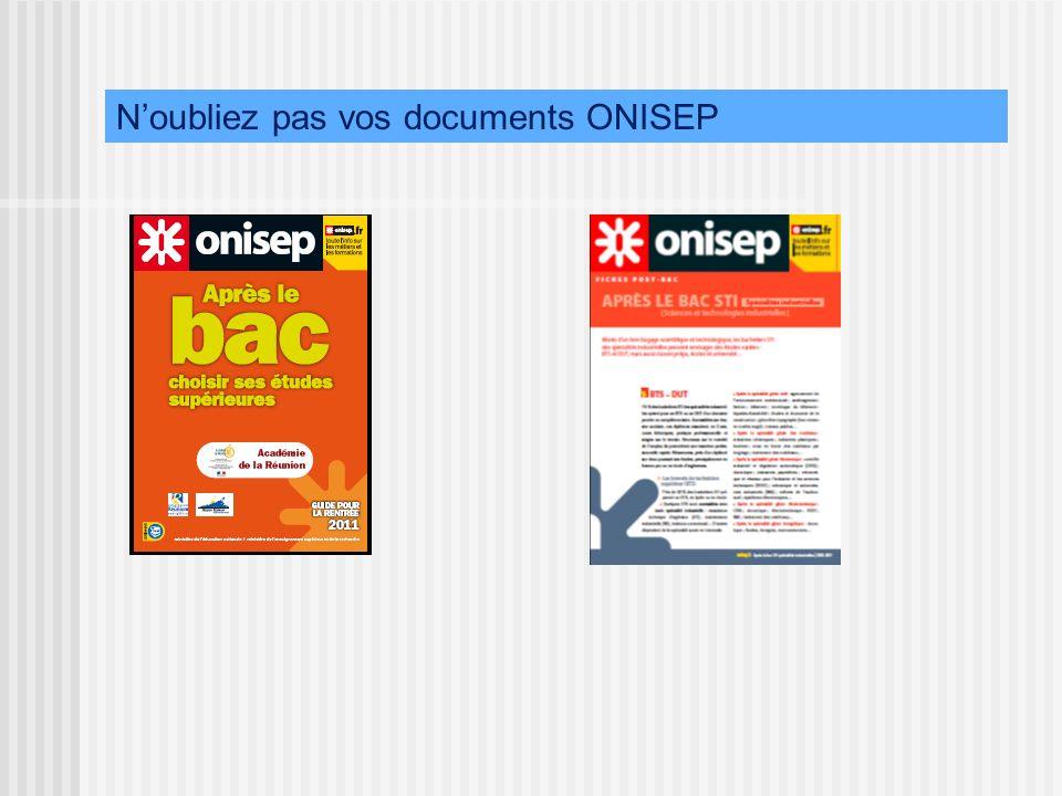 Noubliez pas vos documents ONISEP