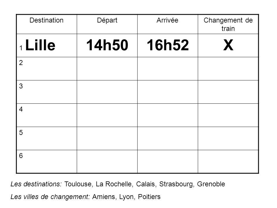 DestinationDépartArrivéeChangement de train 1 Lille14h5016h52X 2 3 4 5 6 Les destinations: Toulouse, La Rochelle, Calais, Strasbourg, Grenoble Les villes de changement: Amiens, Lyon, Poitiers
