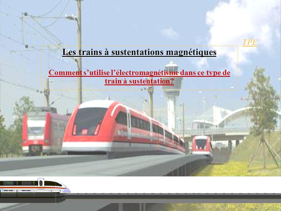 TPE Les trains à sustentations magnétiques Comment sutilise lélectromagnétisme dans ce type de train à sustentation? 1