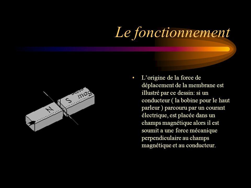Le fonctionnement Lorigine de la force de déplacement de la membrane est illustré par ce dessin: si un conducteur ( la bobine pour le haut parleur ) p