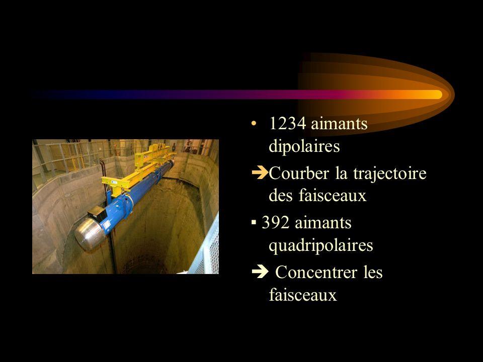 1234 aimants dipolaires Courber la trajectoire des faisceaux 392 aimants quadripolaires Concentrer les faisceaux