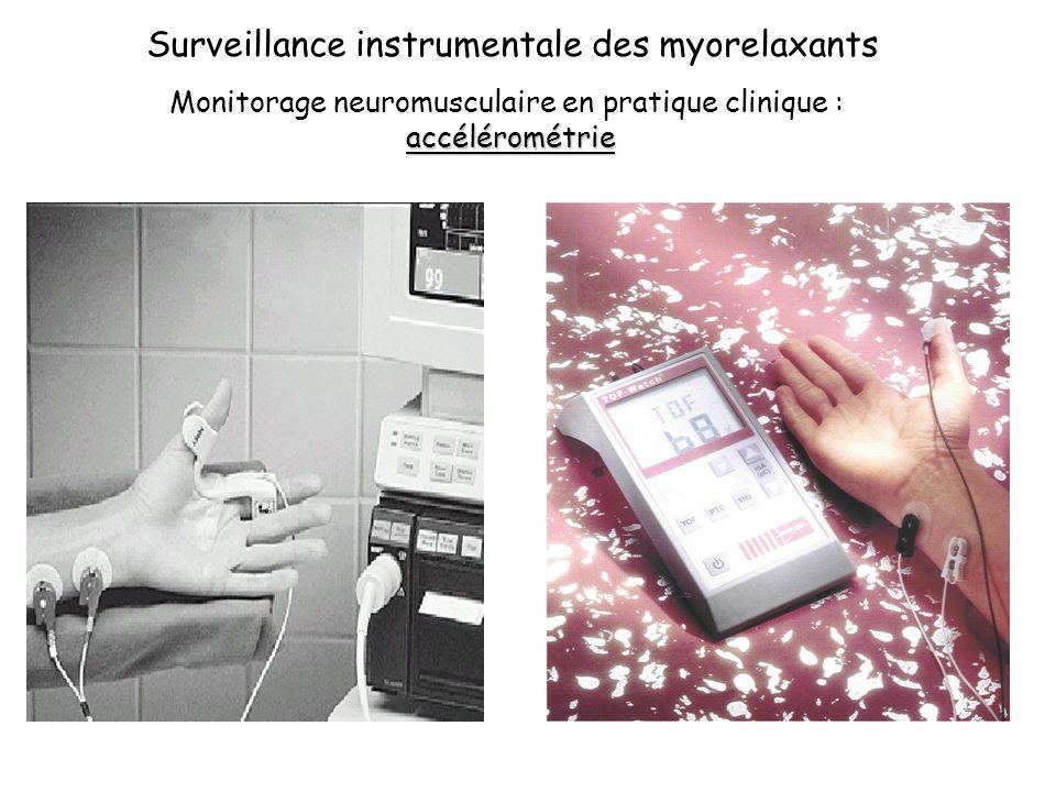 Surveillance instrumentale des myorelaxants Monitorage neuromusculaire en pratique clinique :accélérométrie