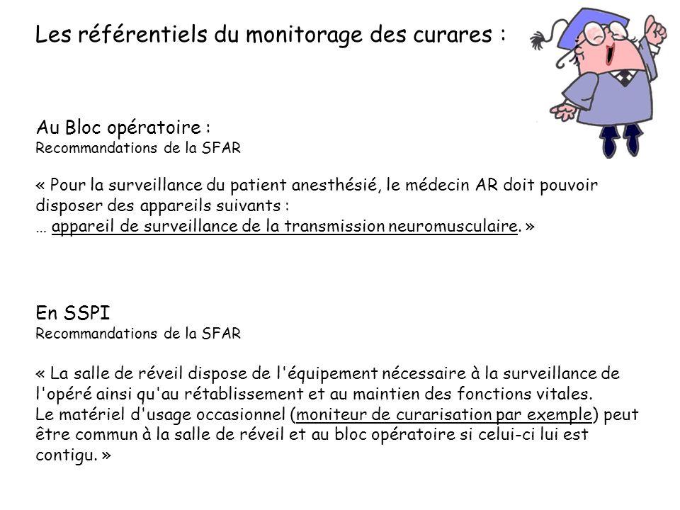 Les référentiels du monitorage des curares : Au Bloc opératoire : Recommandations de la SFAR « Pour la surveillance du patient anesthésié, le médecin AR doit pouvoir disposer des appareils suivants : … appareil de surveillance de la transmission neuromusculaire.