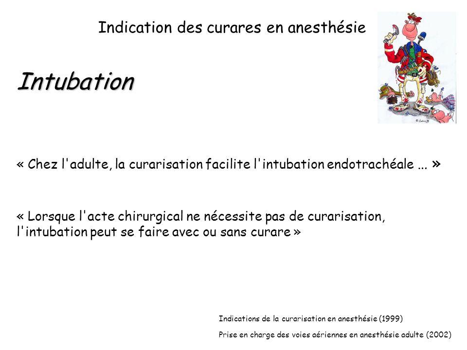 Indication des curares en anesthésie Intubation « Chez l adulte, la curarisation facilite l intubation endotrachéale … » « Lorsque l acte chirurgical ne nécessite pas de curarisation, l intubation peut se faire avec ou sans curare » Indications de la curarisation en anesthésie (1999) Prise en charge des voies aériennes en anesthésie adulte (2002)