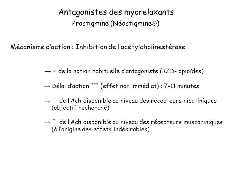 Antagonistes des myorelaxants Mécanisme daction : Inhibition de lacétylcholinestérase de la notion habituelle dantagoniste (BZD- opioïdes) Délai daction +++ ( effet non immédiat) : 7-11 minutes de lAch disponible au niveau des récepteurs nicotiniques (objectif recherché) de lAch disponible au niveau des récepteurs muscariniques (à lorigine des effets indésirables) Prostigmine (Néostigmine )