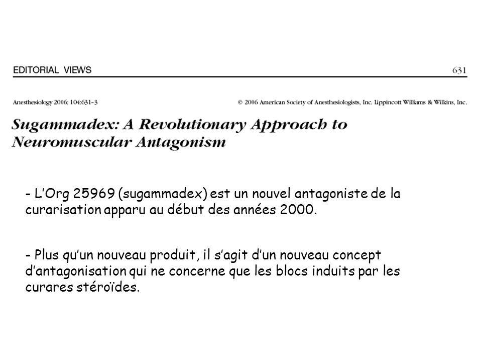 - LOrg 25969 (sugammadex) est un nouvel antagoniste de la curarisation apparu au début des années 2000.
