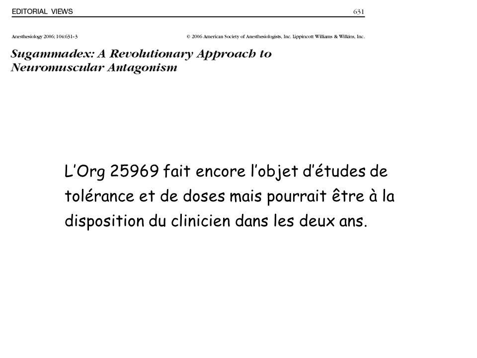 LOrg 25969 fait encore lobjet détudes de tolérance et de doses mais pourrait être à la disposition du clinicien dans les deux ans.