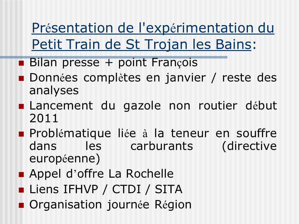Pr é sentation de l'exp é rimentation du Petit Train de St Trojan les Bains: Bilan presse + point Fran ç ois Donn é es compl è tes en janvier / reste