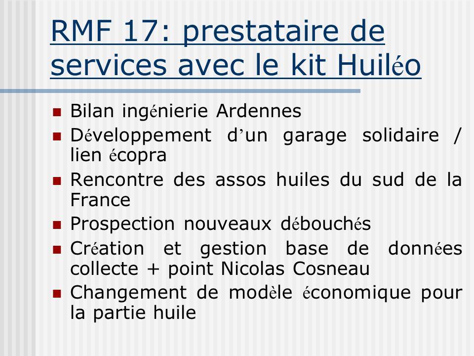 RMF 17: prestataire de services avec le kit Huil é o Bilan ing é nierie Ardennes D é veloppement d un garage solidaire / lien é copra Rencontre des as