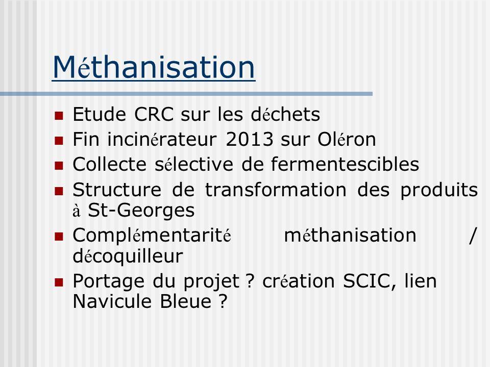 M é thanisation Etude CRC sur les d é chets Fin incin é rateur 2013 sur Ol é ron Collecte s é lective de fermentescibles Structure de transformation d