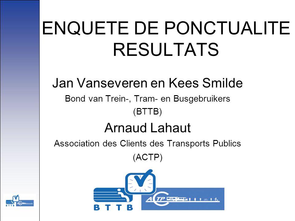 ENQUETE DE PONCTUALITE RESULTATS Jan Vanseveren en Kees Smilde Bond van Trein-, Tram- en Busgebruikers (BTTB) Arnaud Lahaut Association des Clients de