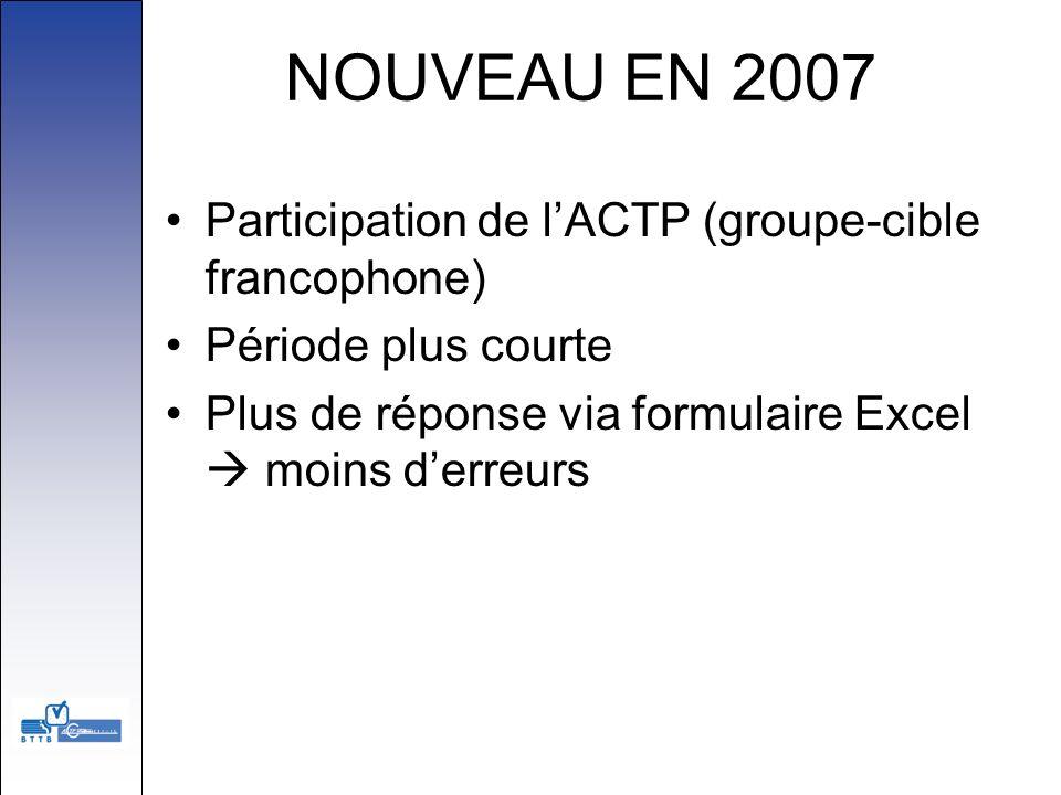 NOUVEAU EN 2007 Participation de lACTP (groupe-cible francophone) Période plus courte Plus de réponse via formulaire Excel moins derreurs