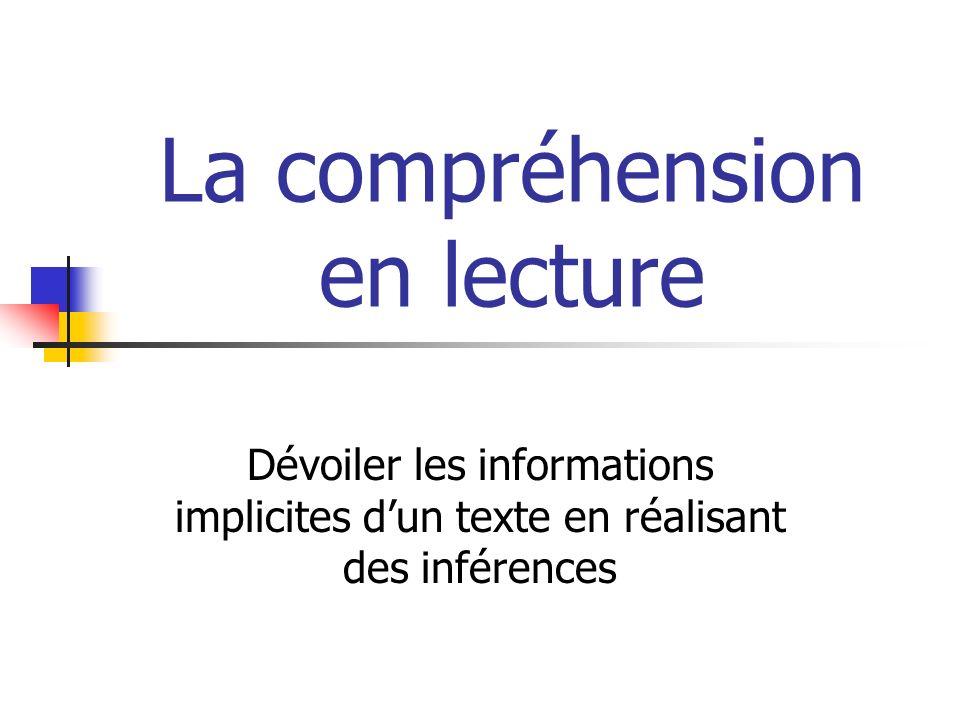 La compréhension en lecture Dévoiler les informations implicites dun texte en réalisant des inférences