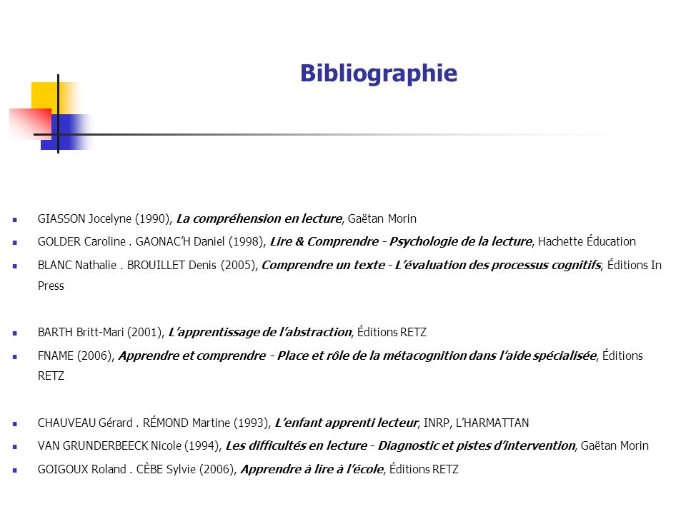 Bibliographie GIASSON Jocelyne (1990), La compréhension en lecture, Gaëtan Morin GOLDER Caroline.