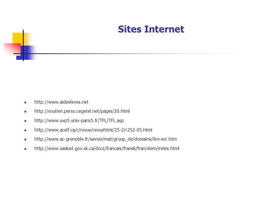 Sites Internet http://www.aideeleves.net http://soutien.perso.cegetel.net/pages/20.html http://www.uvp5.univ-paris5.fr/TFL/TFL.asp http://www.acelf.ca/c/revue/revuehtml/25-2/r252-05.html http://www.ac-grenoble.fr/savoie/mat/group_de/domaine/lire-ecr.htm http://www.sasked.gov.sk.ca/docs/francais/fransk/fran/elem/index.html