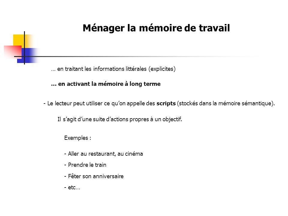Ménager la mémoire de travail … en traitant les informations littérales (explicites) … en activant la mémoire à long terme - Le lecteur peut utiliser ce quon appelle des scripts (stockés dans la mémoire sémantique).