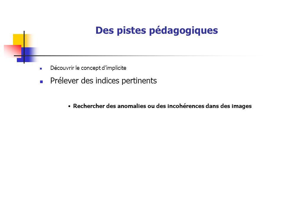 Des pistes pédagogiques Découvrir le concept dimplicite Prélever des indices pertinents Rechercher des anomalies ou des incohérences dans des images