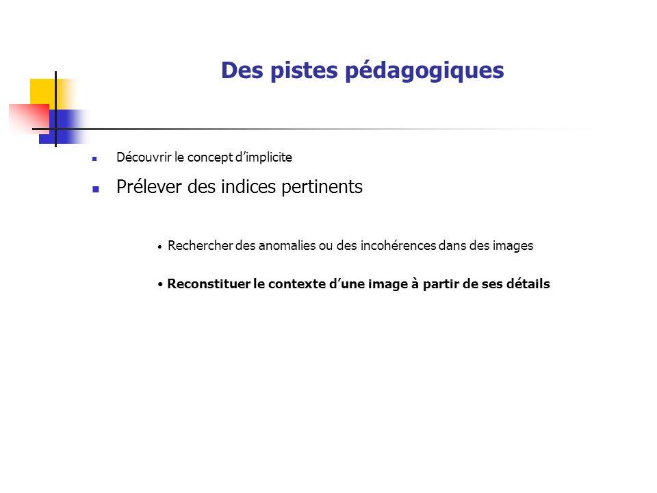 Des pistes pédagogiques Découvrir le concept dimplicite Prélever des indices pertinents Rechercher des anomalies ou des incohérences dans des images Reconstituer le contexte dune image à partir de ses détails
