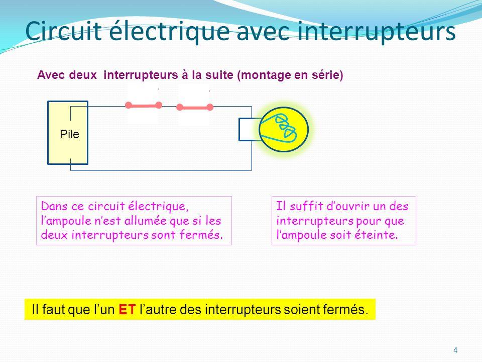 3 Circuits électriques simples Dans ce circuit électrique, lampoule est toujours allumée. Avec interrupteur Sans interrupteur Dans ce circuit électriq