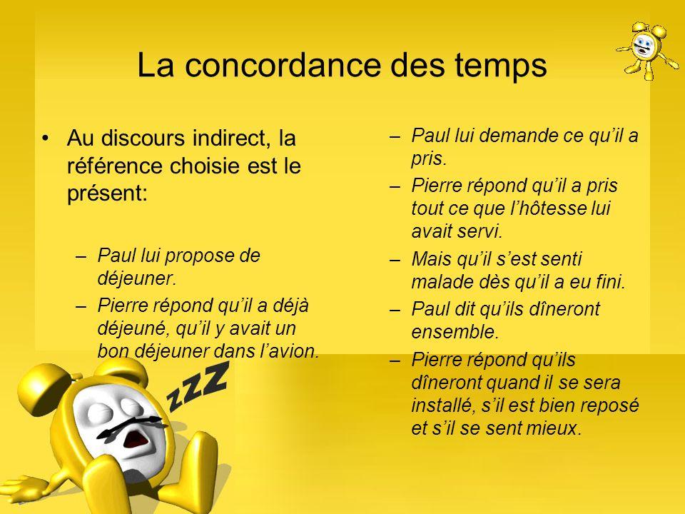 La concordance des temps Au discours indirect, la référence choisie est le présent: –Paul lui propose de déjeuner. –Pierre répond quil a déjà déjeuné,
