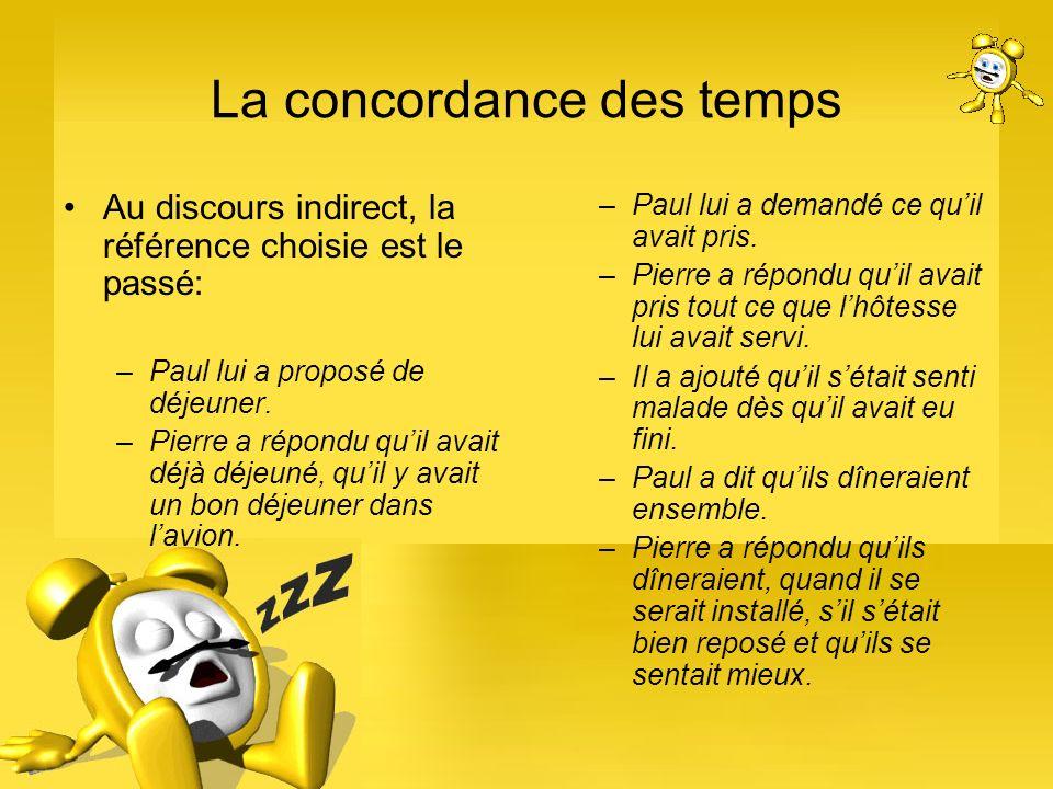 La concordance des temps Au discours indirect, la référence choisie est le passé: –Paul lui a proposé de déjeuner. –Pierre a répondu quil avait déjà d