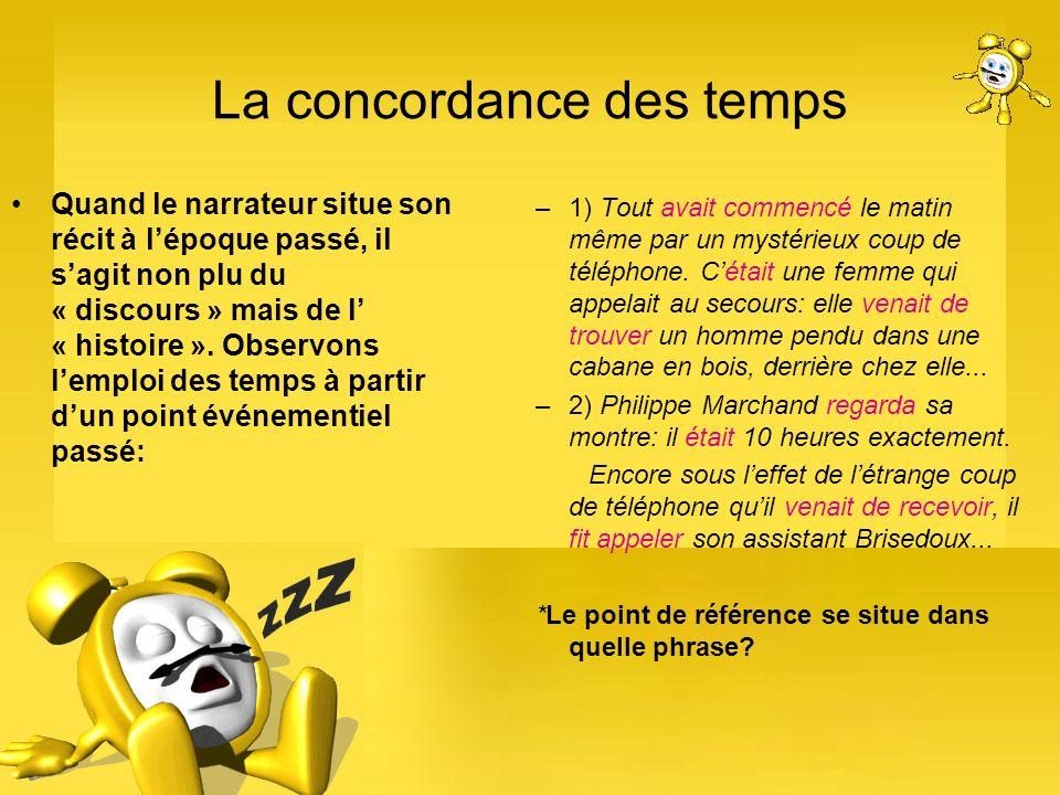 La concordance des temps Quand le narrateur situe son récit à lépoque passé, il sagit non plu du « discours » mais de l « histoire ». Observons lemplo