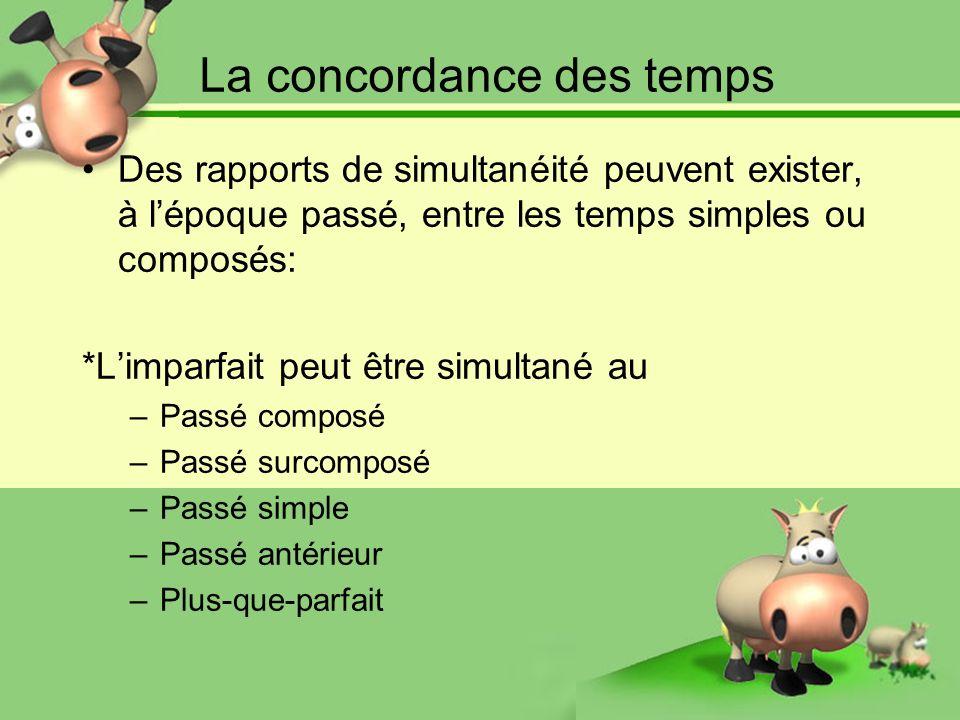 La concordance des temps Des rapports de simultanéité peuvent exister, à lépoque passé, entre les temps simples ou composés: *Limparfait peut être sim