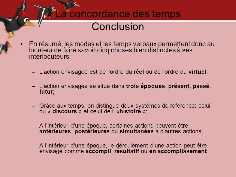 La concordance des temps Conclusion En résumé, les modes et les temps verbaux permettent donc au locuteur de faire savoir cinq choses bien distinctes