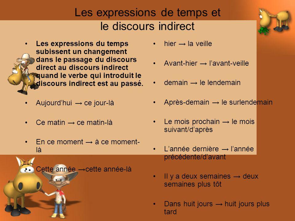 Les expressions de temps et le discours indirect Les expressions du temps subissent un changement dans le passage du discours direct au discours indir