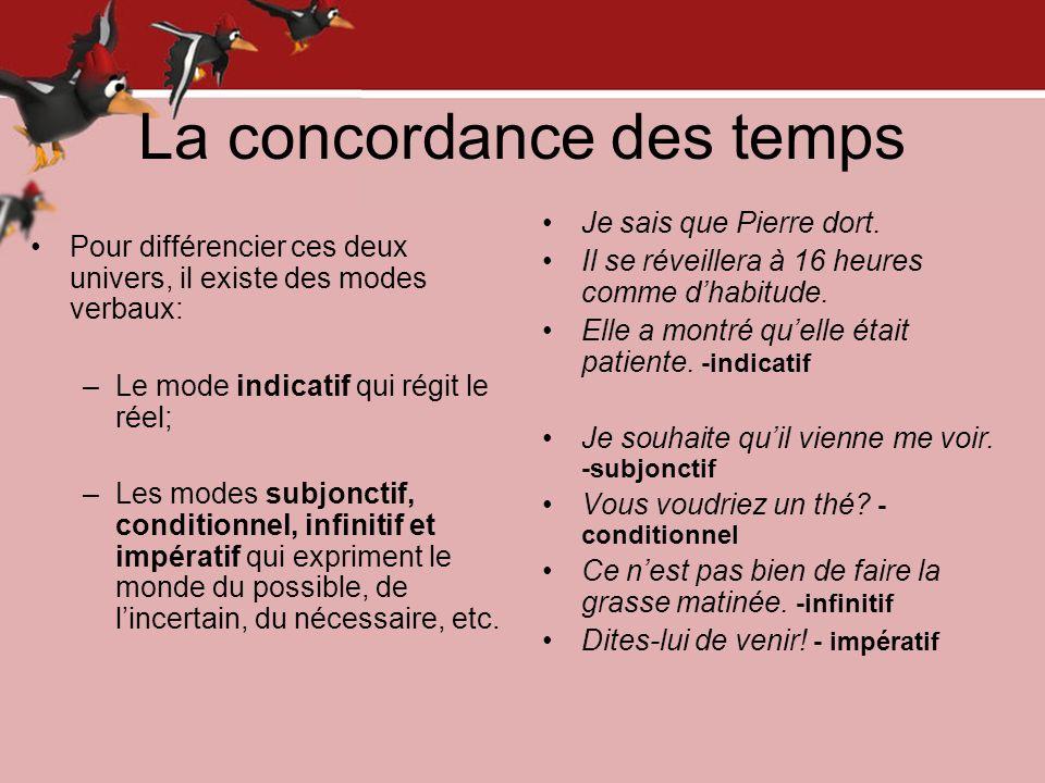 La concordance des temps Pour différencier ces deux univers, il existe des modes verbaux: –Le mode indicatif qui régit le réel; –Les modes subjonctif,