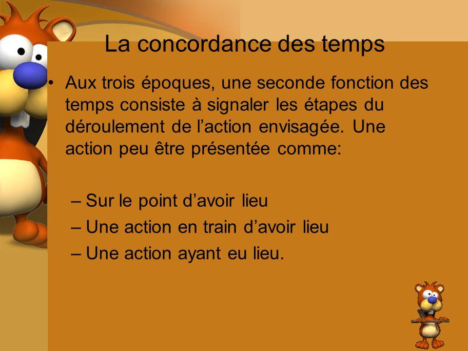La concordance des temps Aux trois époques, une seconde fonction des temps consiste à signaler les étapes du déroulement de laction envisagée. Une act