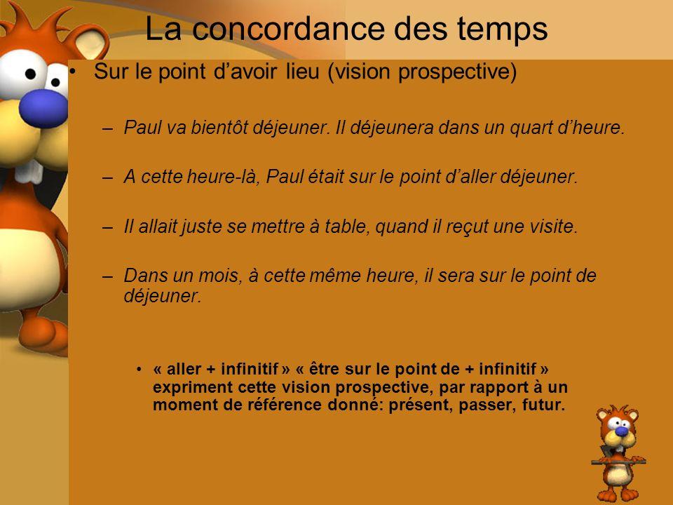 La concordance des temps Sur le point davoir lieu (vision prospective) –Paul va bientôt déjeuner. Il déjeunera dans un quart dheure. –A cette heure-là