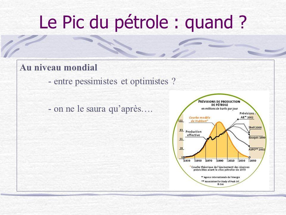 Le Pic du pétrole : quand .Au niveau mondial - entre pessimistes et optimistes .