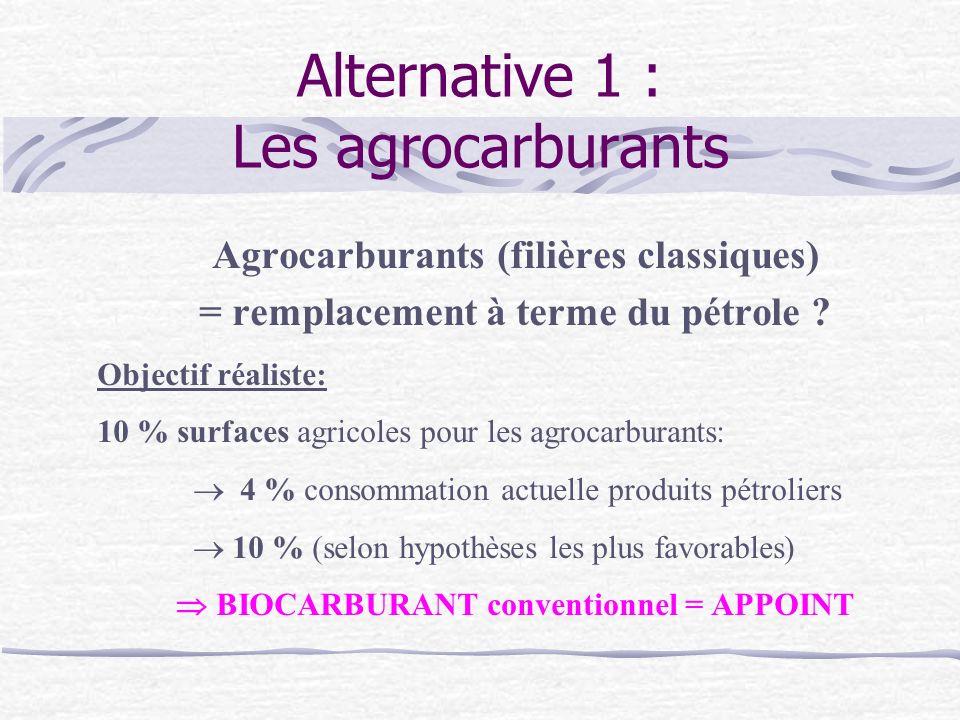 Alternative 1 : Les agrocarburants Agrocarburants (filières classiques) = remplacement à terme du pétrole .
