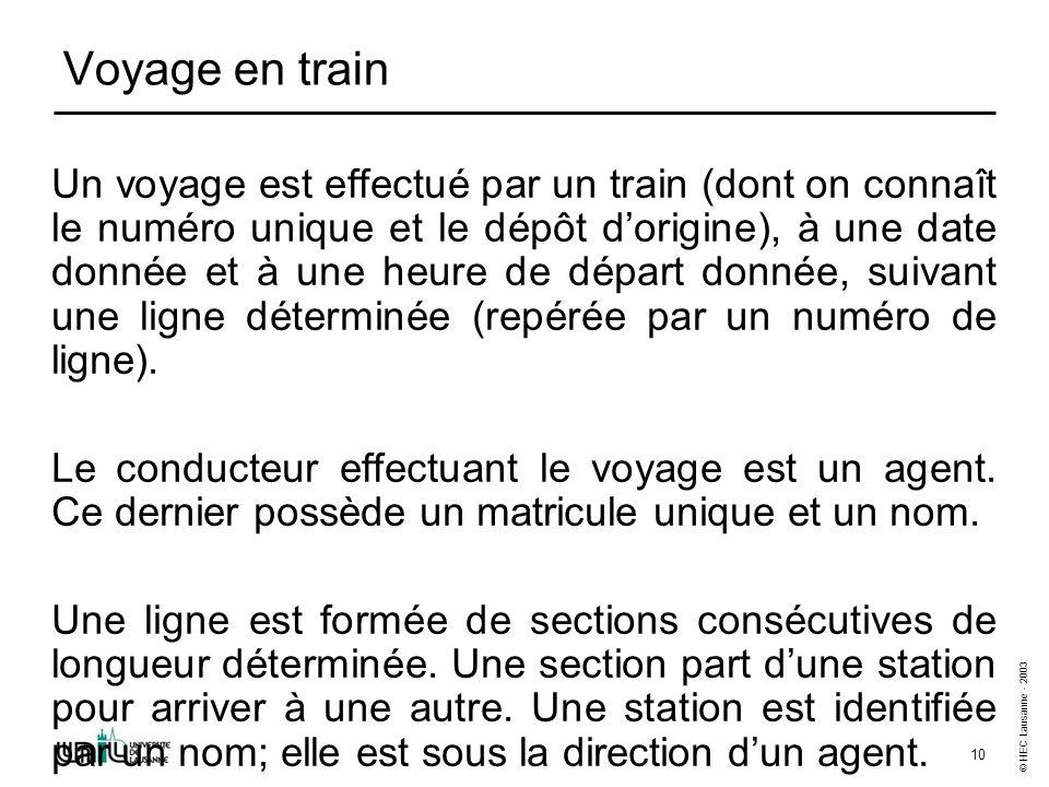 © HEC Lausanne - 2003 10 Voyage en train Un voyage est effectué par un train (dont on connaît le numéro unique et le dépôt dorigine), à une date donnée et à une heure de départ donnée, suivant une ligne déterminée (repérée par un numéro de ligne).