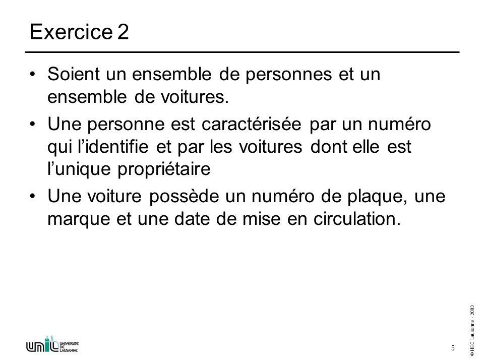 © HEC Lausanne - 2003 5 Exercice 2 Soient un ensemble de personnes et un ensemble de voitures.