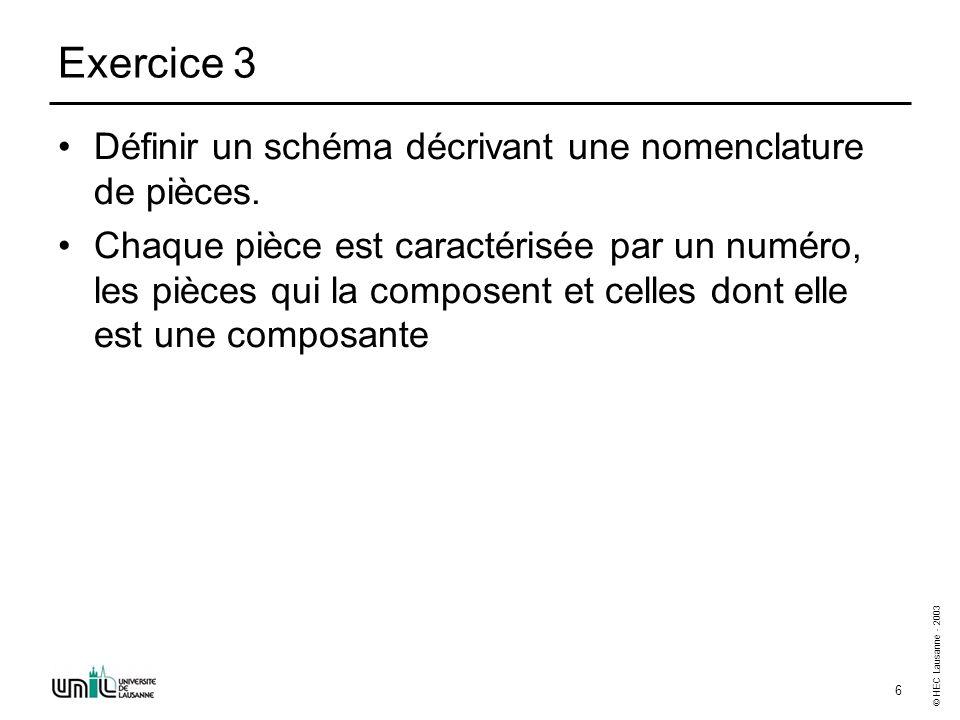 © HEC Lausanne - 2003 6 Exercice 3 Définir un schéma décrivant une nomenclature de pièces.