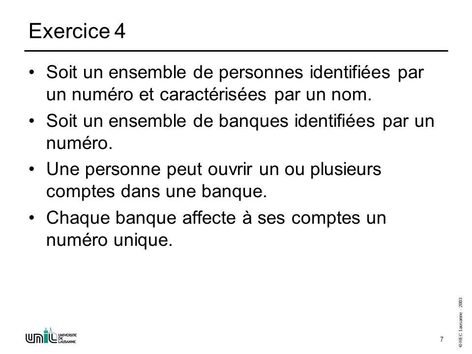 © HEC Lausanne - 2003 7 Exercice 4 Soit un ensemble de personnes identifiées par un numéro et caractérisées par un nom.