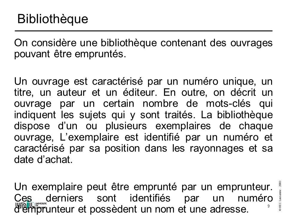 © HEC Lausanne - 2003 9 Bibliothèque On considère une bibliothèque contenant des ouvrages pouvant être empruntés.
