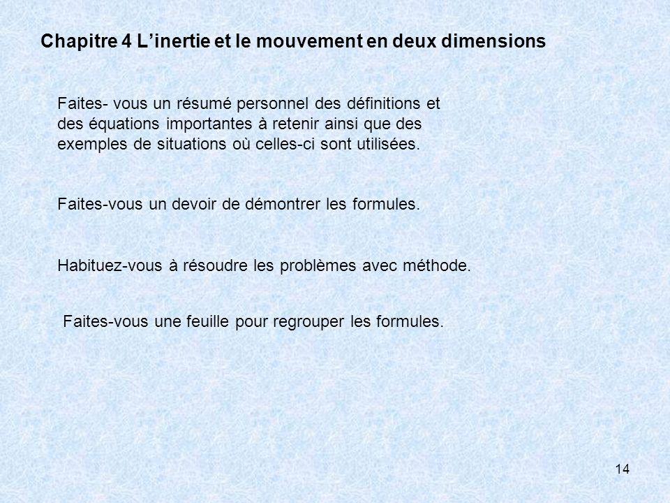 14 Chapitre 4 Linertie et le mouvement en deux dimensions Faites- vous un résumé personnel des définitions et des équations importantes à retenir ains