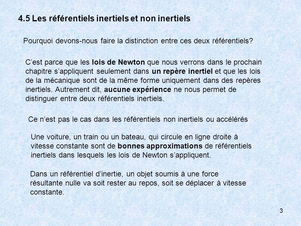 3 4.5 Les référentiels inertiels et non inertiels Cest parce que les lois de Newton que nous verrons dans le prochain chapitre sappliquent seulement d