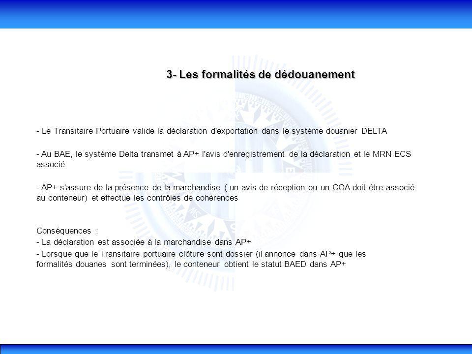 3- Les formalités de dédouanement - Le Transitaire Portuaire valide la déclaration d exportation dans le système douanier DELTA - Au BAE, le système Delta transmet à AP+ l avis d enregistrement de la déclaration et le MRN ECS associé - AP+ s assure de la présence de la marchandise ( un avis de réception ou un COA doit être associé au conteneur) et effectue les contrôles de cohérences Conséquences : - La déclaration est associée à la marchandise dans AP+ - Lorsque que le Transitaire portuaire clôture sont dossier (il annonce dans AP+ que les formalités douanes sont terminées), le conteneur obtient le statut BAED dans AP+