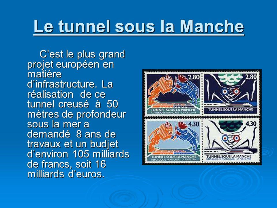Le tunnel sous la Manche Cest le plus grand projet européen en matière dinfrastructure. La réalisation de ce tunnel creusé à 50 mètres de profondeur s